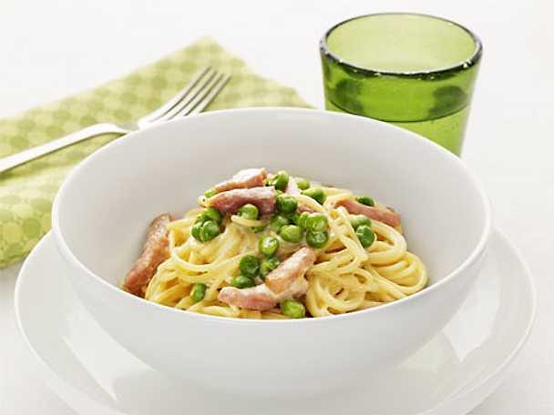 Spaghetti med skinksås och ärtor