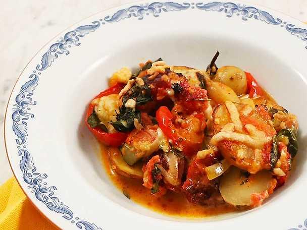 Spansk chorizogratäng med grönsaker
