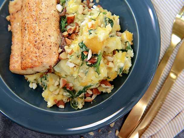 Stekt fisk med stomp på potatis och pumpa