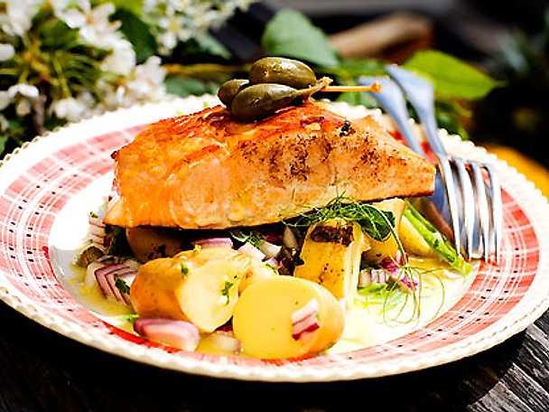 Stekt gravlax med fransk potatissallad