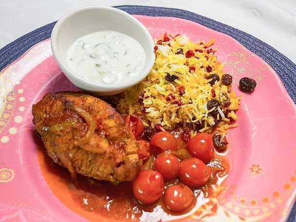 Stekt kyckling med saffransris