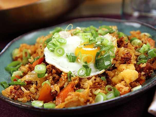 Stekt ris med fläskfärs och kimchi