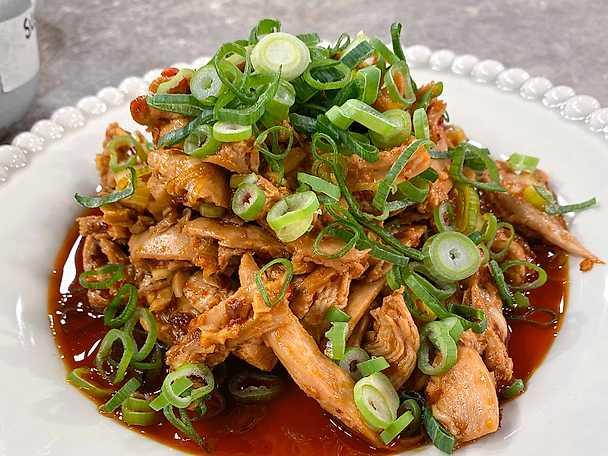 Sticky rice med fiskdoftande kyckling