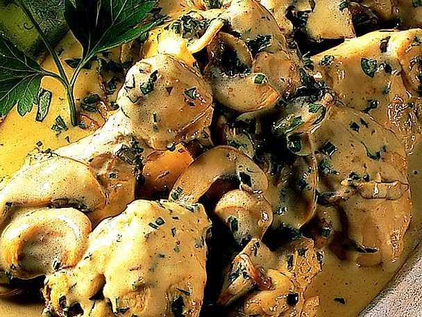 Stuvad kyckling med färska champinjoner