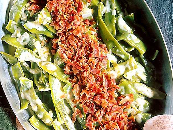 Stuvade skärbönor med bacon