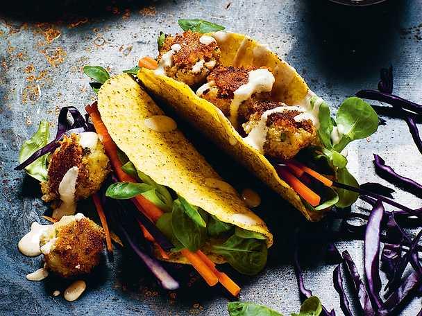 Tacos med frasiga tahinibönbollar