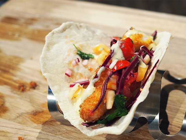 Tacos med panerad torskrygg