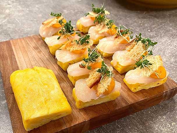 Tamago med gravad torsk och chorizomajjo