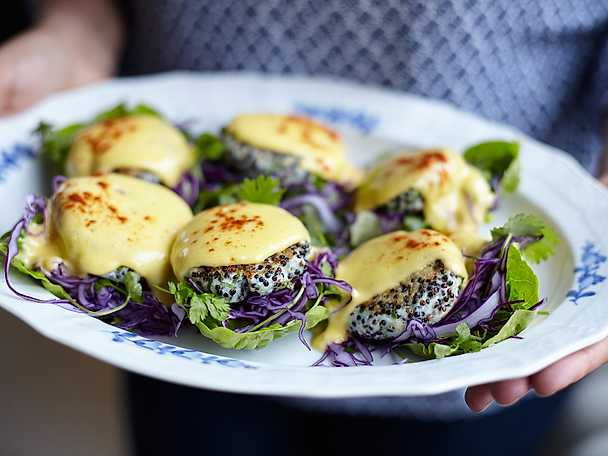 Thai fish cakes med hollandaise