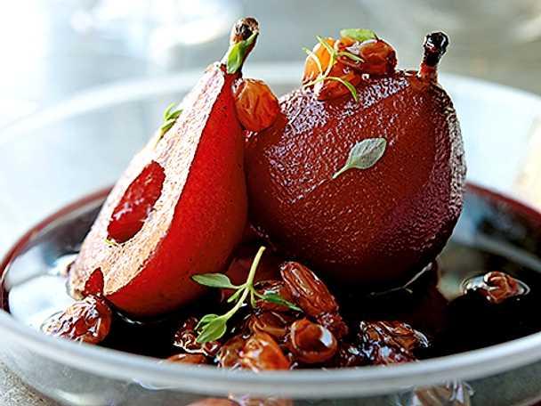 Timjan- och rödvinspäron