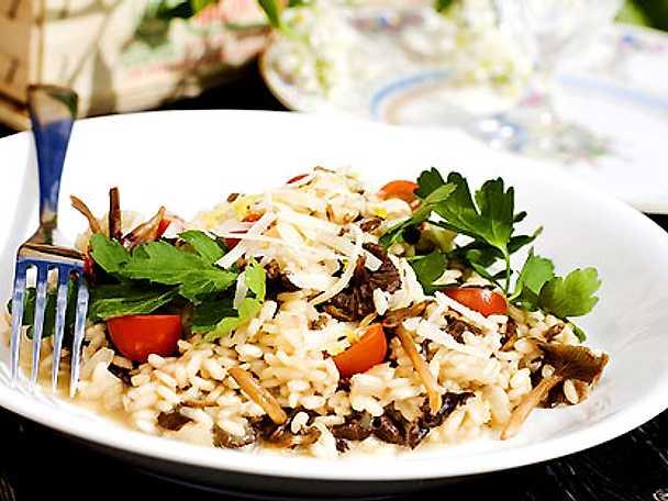 Trattkantarell-risotto med parmesan