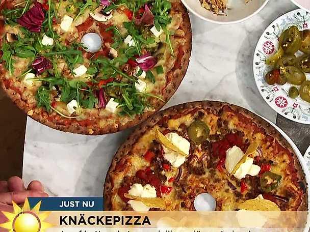 Två sorters knäckepizza