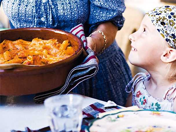 Ugnsbakad pasta med mozzarella