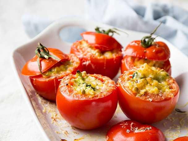 Ugnsbakade tomater med halloumi hotpot