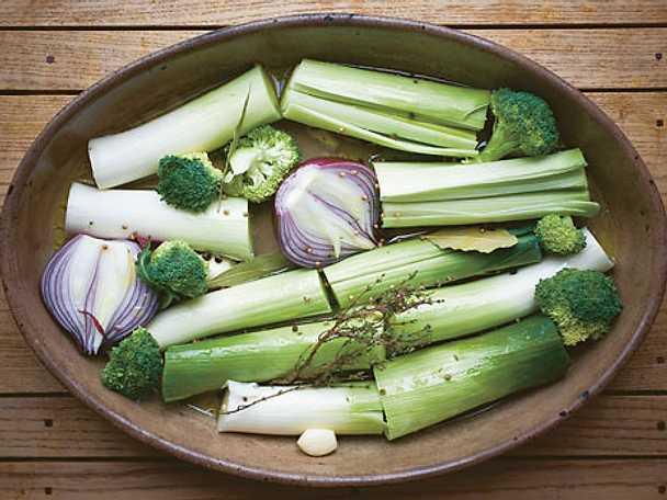 Ugnskokta grönsaker à la greque