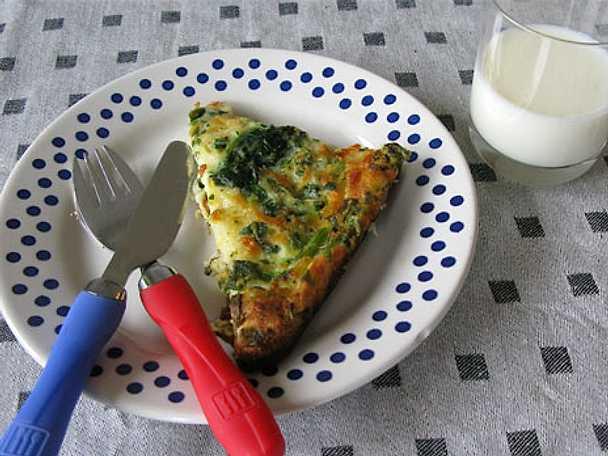 Ugnspannkaka med spenat och ost
