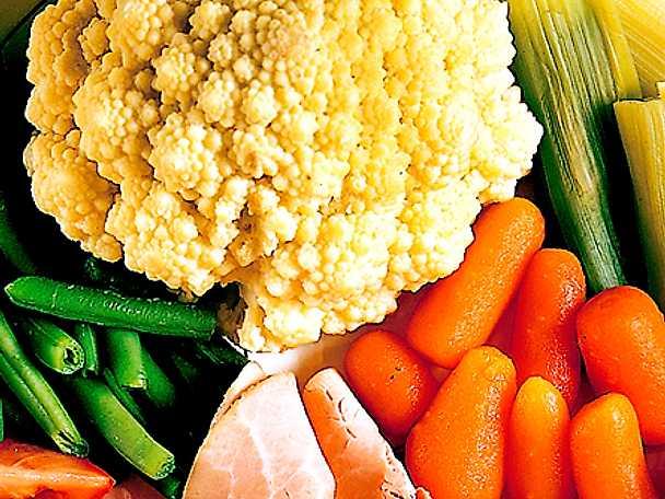 Varma grönsaker med skinka