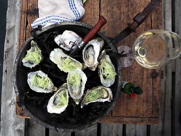 Varma ostron med riven gurka och tabasco