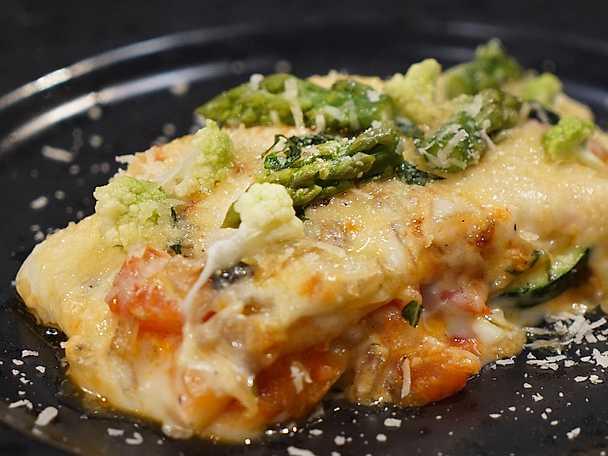 Vegetarisk lasagne med svamp och zucchini
