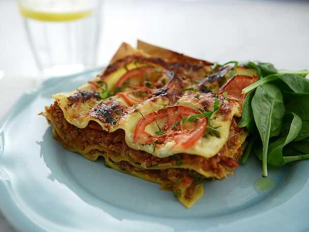 Vegetarisk lasagne med vegofärs