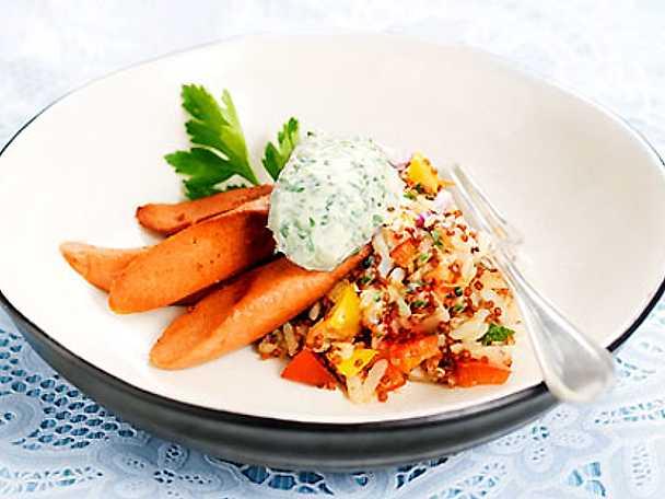 Vegokorv med grönsaksris