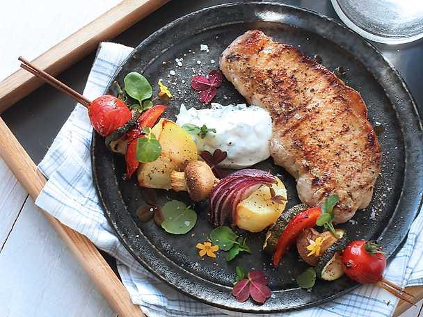 ViktVäktarna Grillad kotlett med grönsaksspett
