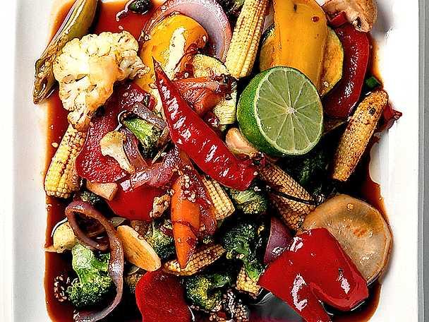 Wokade grönsaker med woksås