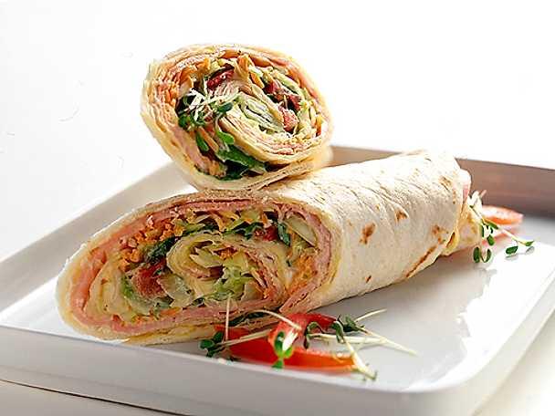 Wraps med skink- och kalkonfyllning